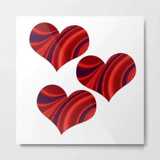 Fractal Heart Trio Metal Print