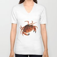 crab V-neck T-shirts featuring Crab by Trinity Mitchell