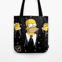 simpson Tote Bags featuring Mr Homer Simpson by Lewismv3