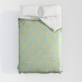 Art Deco Mermaid Scales Pattern on aqua turquoise with Gold foil effect Comforters