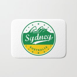 Sydney City, Australia, circle, green yellow Bath Mat