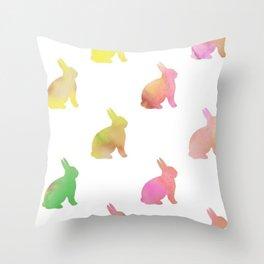 Colorful Bunnies Throw Pillow