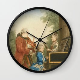 The Mozart family on tour: Leopold, Wolfgang, and Nannerl. Watercolor by Carmontelle, ca. 1763 Wall Clock