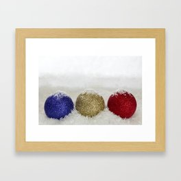 Christmas Baubles Sprinkled With Snow Framed Art Print