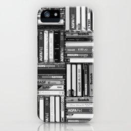 Music Cassette Stacks - Black and White - Something Nostalgic IV #decor #society6 #buyart iPhone Case