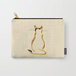 Sitting Cat from behind at Brown and Beige Carry-All Pouch