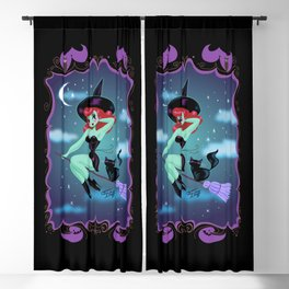 Cute Pinup Witch on Purple Blackout Curtain