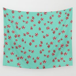 Peppermint Candy in Aqua Wall Tapestry