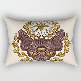 black cat with three eyes Rectangular Pillow
