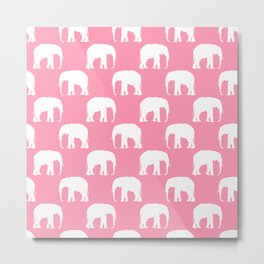 Cute Pink & White Elephants  Metal Print