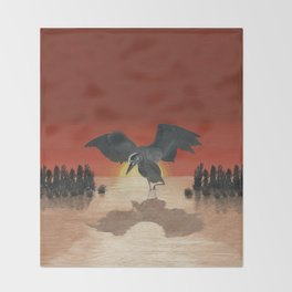 Blue Heron Reflection Throw Blanket