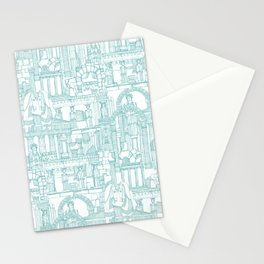 Ancient Greece teal white Stationery Cards