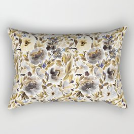Gold and Grey Fall Feels Floral Rectangular Pillow