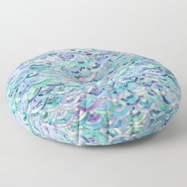 Marble Mosaic in Sapphire and Emerald Floor Pillow