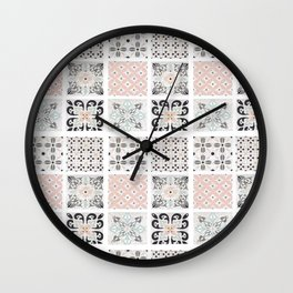 Modern black pastel green coral motif geometrical Wall Clock