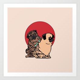 The Making of a Brindle Pug Art Print
