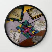 da vinci Wall Clocks featuring Tribute to Leonardo da Vinci by Art By Carob