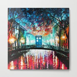 Tardis With Beautiful Starry Night Metal Print