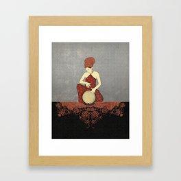 Rastafari Woman on Bongo Drum Framed Art Print