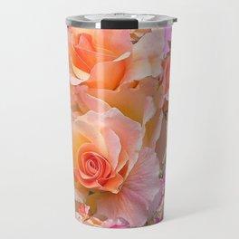 PINK-YELLOW ANTIQUE ROSES VIGNETTE Travel Mug