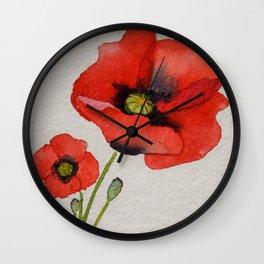 Watercolour Poppies Wall Clock