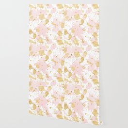 Blush Pink Gold Splatters Abstract Wallpaper