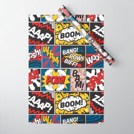 Modern Comic Book Superhero Pattern Color Colour Cartoon Lichtenstein Pop Art Wrapping Paper