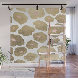 Elegant pink faux gold abstract leopard animal print Wall Mural