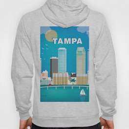 Tampa, Florida - Skyline Illustration by Loose Petals Hoody