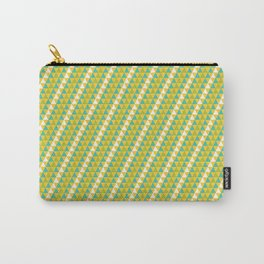 Geometrical green yellow white triangles stripes pattern Carry-All Pouch