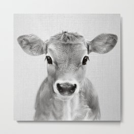 Calf - Black & White Metal Print