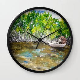 Florida Mangrove Tea Water in the Everglades Wall Clock