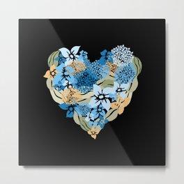 Hydrangea Heart Metal Print