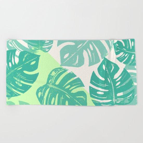 Linocut Monstera Green Beach Towel