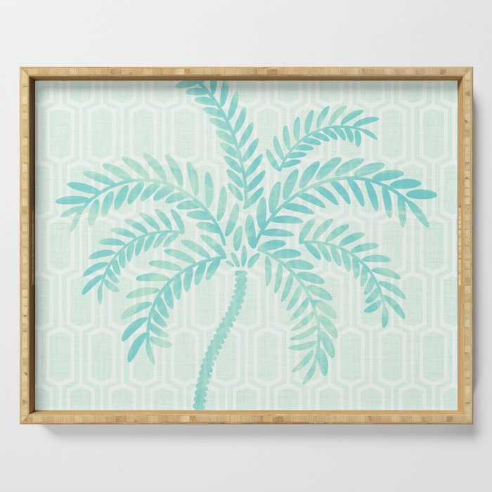 Mint Tropical Palm / Watercolor Collage Serving Tray