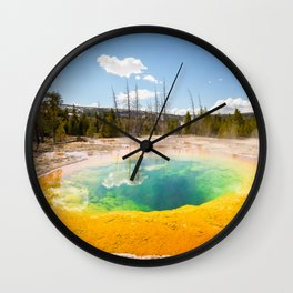 Yellowstone National Park Morning Glory Pool Wyoming Landscape Wall Clock