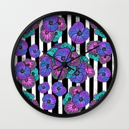 Florals over black and white stripes Wall Clock