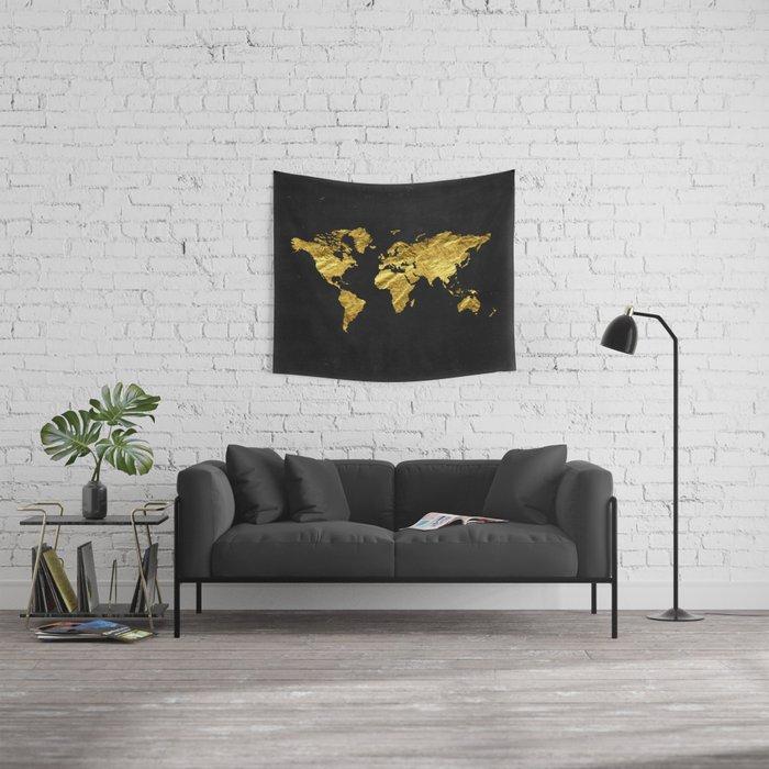 Black Gold Decor Gold World Map Office Decor Bathroom Glam