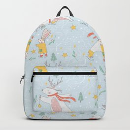 Christmas Polar Bears and Rabbits Ice Skating Backpack