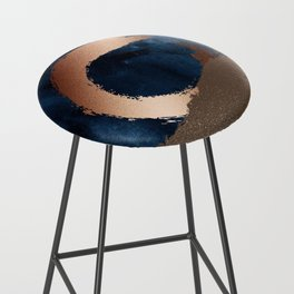 Navy Blue, Gold And Copper Abstract Art Bar Stool