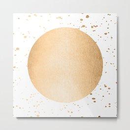 Sun Paint Spatter in Orange Sherbet Shimmer Metal Print