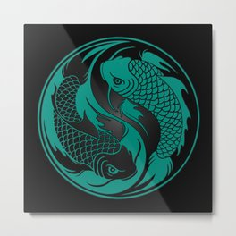 Teal Blue and Black Yin Yang Koi Fish Metal Print
