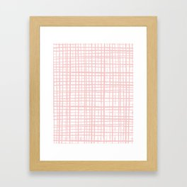 Pantone rose quartz grid pattern print minimal lines cross swiss cross painting hand drawn pastel Framed Art Print