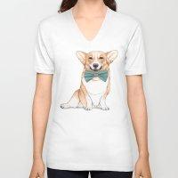 corgi V-neck T-shirts featuring Corgi Dog by Barruf