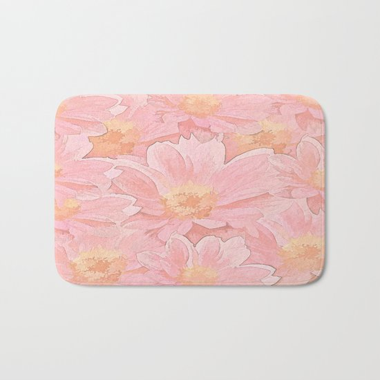 Pretty In Pink Painterly Floral Bath Mat