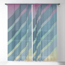 Blue Stripes Gradient Sheer Curtain
