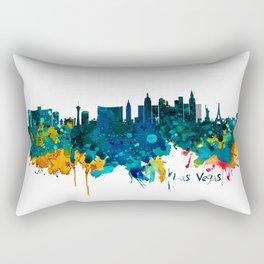 Las Vegas Watercolor Skyline Rectangular Pillow