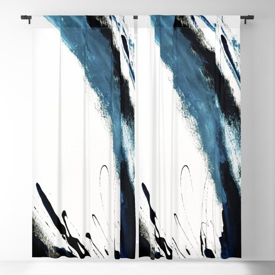 Reykjavik: a pretty and minimal mixed media piece in black, white, and blue by blushingbrushstudio