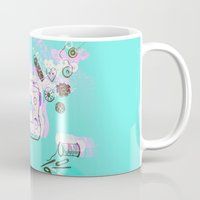 sewing Mugs featuring Sewing Splash by minniemorrisart