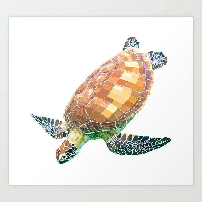 The Green Sea Turtle (Colored) Art Print